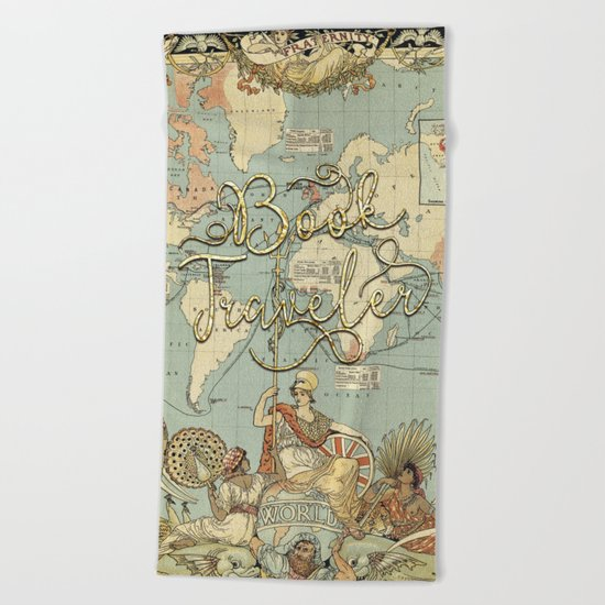 Book Traveler Vintage Map v3 Beach Towel