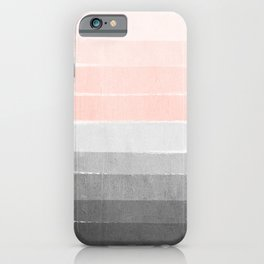 Color story millennial pink and grey transition brushstrokes modern canvas art decor dorm college iPhone Case
