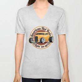 American Hot Rods Light 'Em Up Vintage Car Illustration Unisex V-Neck