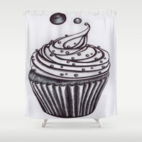 cupcake Shower Curtains featuring Cupcake by AGalaxyWithin