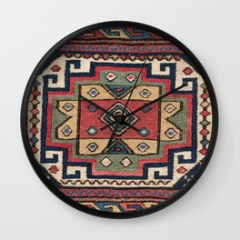 Cowboy Sumakh // 19th Century Colorful Red White Blue Western Lone Star Dallas Ornate Accent Pattern Wall Clock