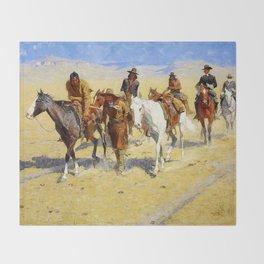 "Frederic Remington Art ""Pony Tracks In the Buffalo Trail"" Throw Blanket"