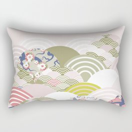 scales simple Nature background with japanese sakura flower, rosy pink Cherry, wave circle pattern Rectangular Pillow