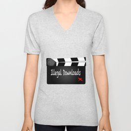 Illegal Downloads Clapperboard Unisex V-Neck