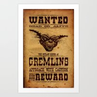 gremlins Art Prints featuring Wanted Gremlins by NicoWriter