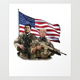 Presidential Soldiers: Ronald Reagan & Donald Trump USA Flag Art Print