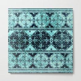 nordic tile star in teal Metal Print