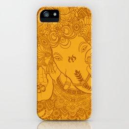 Ganesha Lineart Yellow iPhone Case