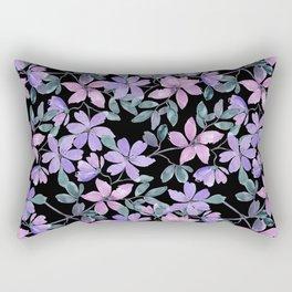 Pink, purple flowers on a black background. Rectangular Pillow