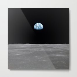 Earth rise over the Moon Metal Print