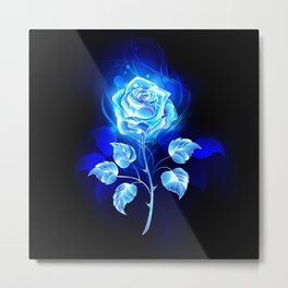 Burning Blue Rose Metal Print