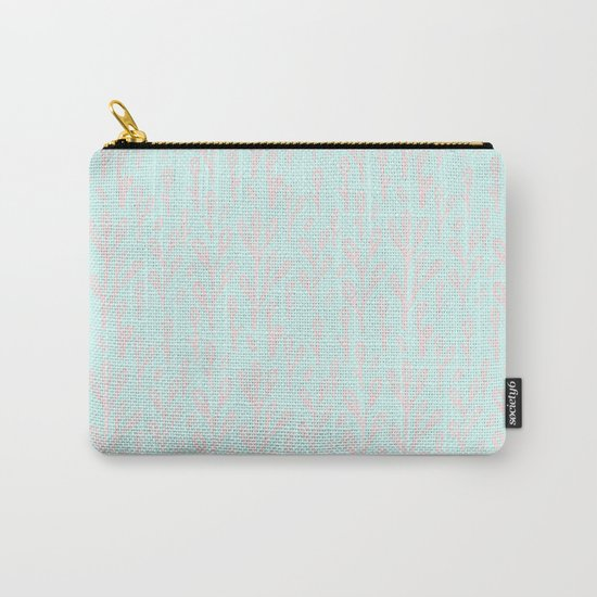 Merry christmas- abstract winter pattern with pink branch and snow Carry-All Pouch