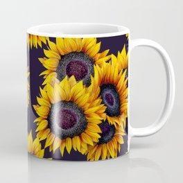 Sunflowers yellow navy blue elegant colorful pattern Coffee Mug