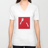 liverpool V-neck T-shirts featuring Steven Gerrard Liverpool FC by Mark McKenny