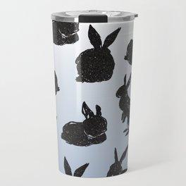 cute black glitter bunnies on Cashmere Blue ombre Travel Mug