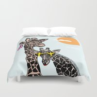 animals Duvet Covers featuring animals by Hanan Azran