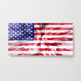 American Flag Extrude Metal Print