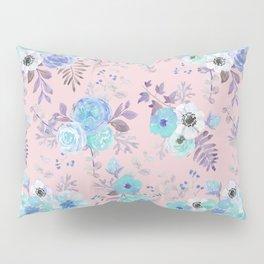 Elegant blush pink blue teal violet watercolor floral Pillow Sham