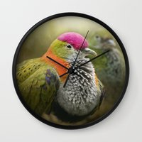 aperture Wall Clocks featuring Superb Fruit Dove by Pauline Fowler ( Polly470 )