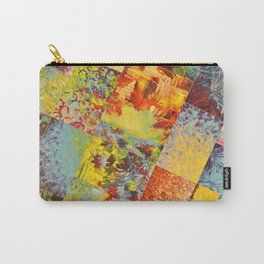 COLORFUL INDECISION 3 - Wild Vivid Rainbow Abstract Acrylic Painting Mixed Pattern Pretty Art Gift  Carry-All Pouch