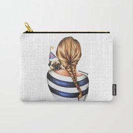 Brunette Braid Hairstyle Girl with Pug Dog Drawing Carry-All Pouch