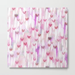 Pink Watercolor Hearts for Her Metal Print