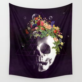 Skull with flowers no1 Wall Tapestry