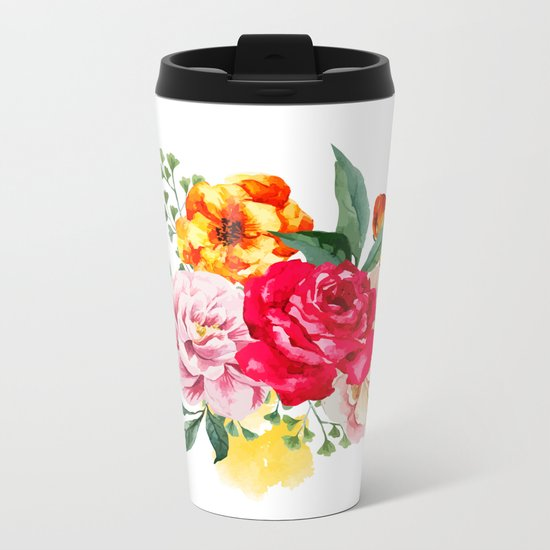 Watercolor Spring Flowers Metal Travel Mug