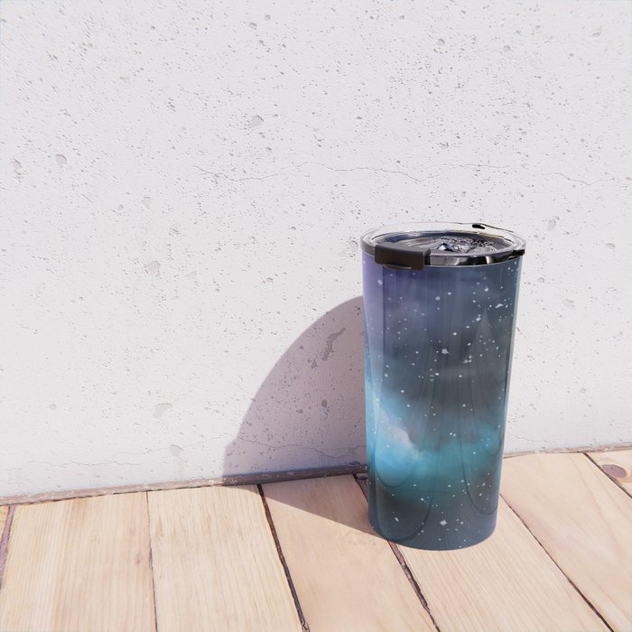 Navy Blue & Purple Glitter Cosmo Watercolor Galaxy Painting Travel Mug