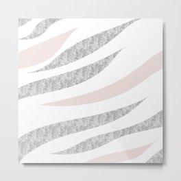 HAPPY ABSTRACT   silver-orange zebra pattern Metal Print