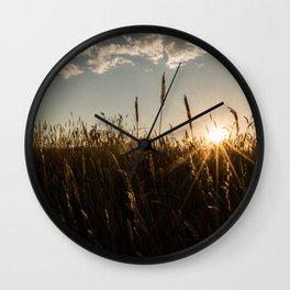 Wyoming Wheat Field Sunset Wall Clock