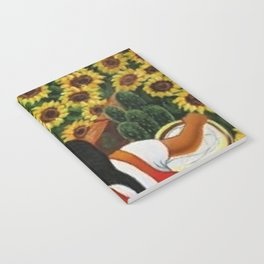 Classical Masterpiece Sunflowers 'Chismosas' by Diego Rivera Notebook