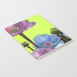 AWESOME PINK & BLUE POPPY GREEN  GARDEN FLOWERS Notebook
