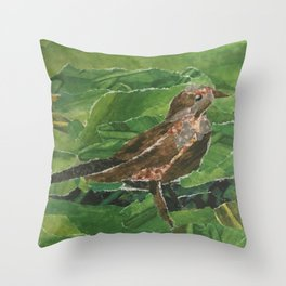 Brown Bird in the Green Grass Throw Pillow