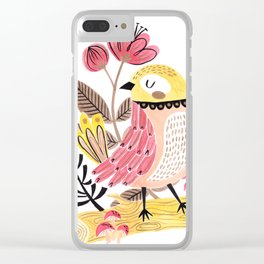 Little Birdy on a Log Clear iPhone Case