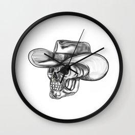 Cowboy Skull Tattoo Wall Clock