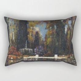 Garden with a Fountain by Thomas Mostyn Rectangular Pillow