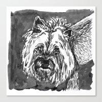 yorkie Canvas Prints featuring yorkie by Jenn Steffey