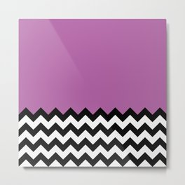 Radiant Orchid Chevron Split - Baby Stimulation Pattern Metal Print