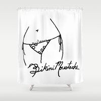 bikini Shower Curtains featuring Bikini Moustache by Andy Aidekman