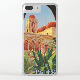 vintage 1920s Palermo Sicily Italian travel ad Clear iPhone Case