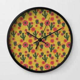 Cactus Flower Print Wall Clock