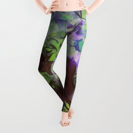 Old Tree Thick Branches Green & Blue Colors Leggings