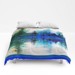BLUE SCENIC MOUNTAIN PINES LAKE REFLECTION ART  PATTERNS Comforters