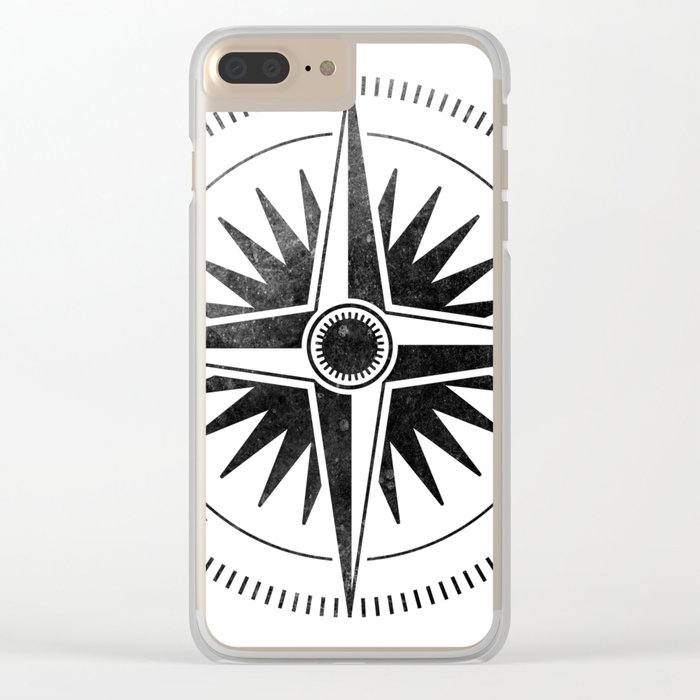 Black Compass on White Clear iPhone Case