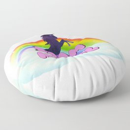 Doom Metal Rainbow Unicorn in Space Floor Pillow