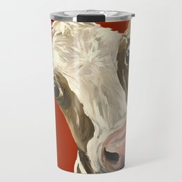 Cute Cow Painting, Red Cow Painting Travel Mug