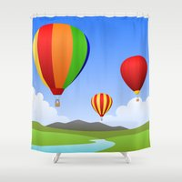 hot air balloons Shower Curtains featuring Hot Air Balloons by Henry Meadowlark