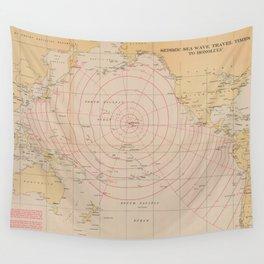 Vintage Hawaii Seismic Tsunami Wave Map (1947) Wall Tapestry