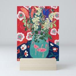 Wild Flowers in Flamingo Vase Floral Painting Mini Art Print